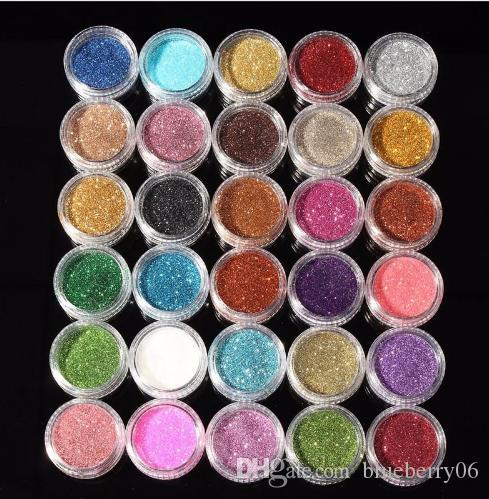 30PCS مختلط الألوان صبغات بريق المعدنية تلألأ ظلال ماكياج مستحضرات التجميل مجموعة مكياج لامع براق ظلال العيون 2018