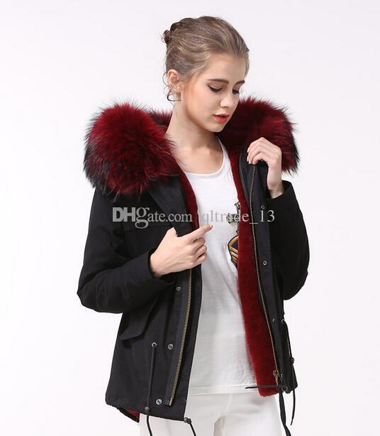 Meifeng marca vinho pródigo pele vermelha guarnição de pele de coelho forrado preto mini casacos de neve parka mulheres casacos com ykk zipper boa qualidade