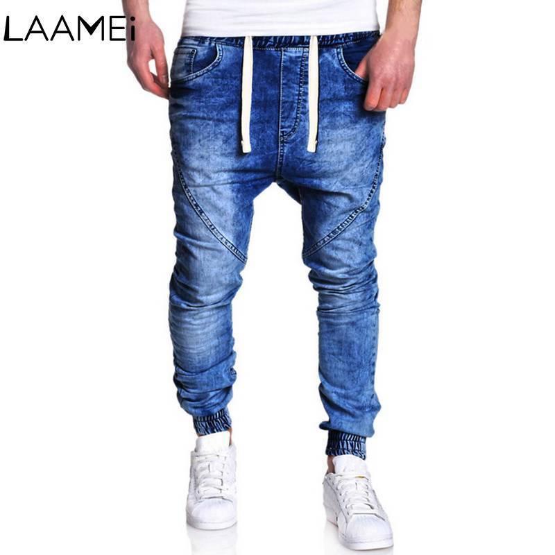 Laamei HipHop Homens Jean New Harem Calça Jeans Stretch Retro Masculino Jean Stretch Lápis Jogger Casual Streetwear Calças Para Homens C18111201
