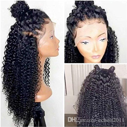 360 Lace Frontal Wig 180% Density Pre Plucked Hairline full lace Human Hair Wig Kinky Curly Hair Wig for Black Women 14inch