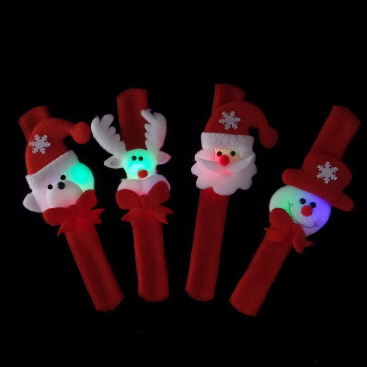 Световой Рождественский поп кольцо браслет светодиодные лампы пожилой снеговик наручные подарки рождественский мультфильм браслет