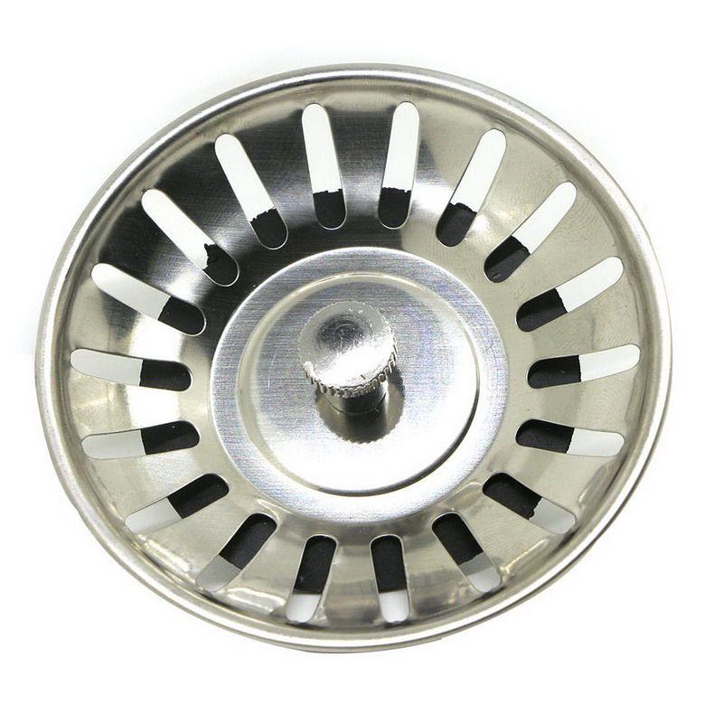 Stainless Steel 8 CM Sink Brass Strainer Waste Plug Drain Stopper Filter Basket Cook Kitchen Tool