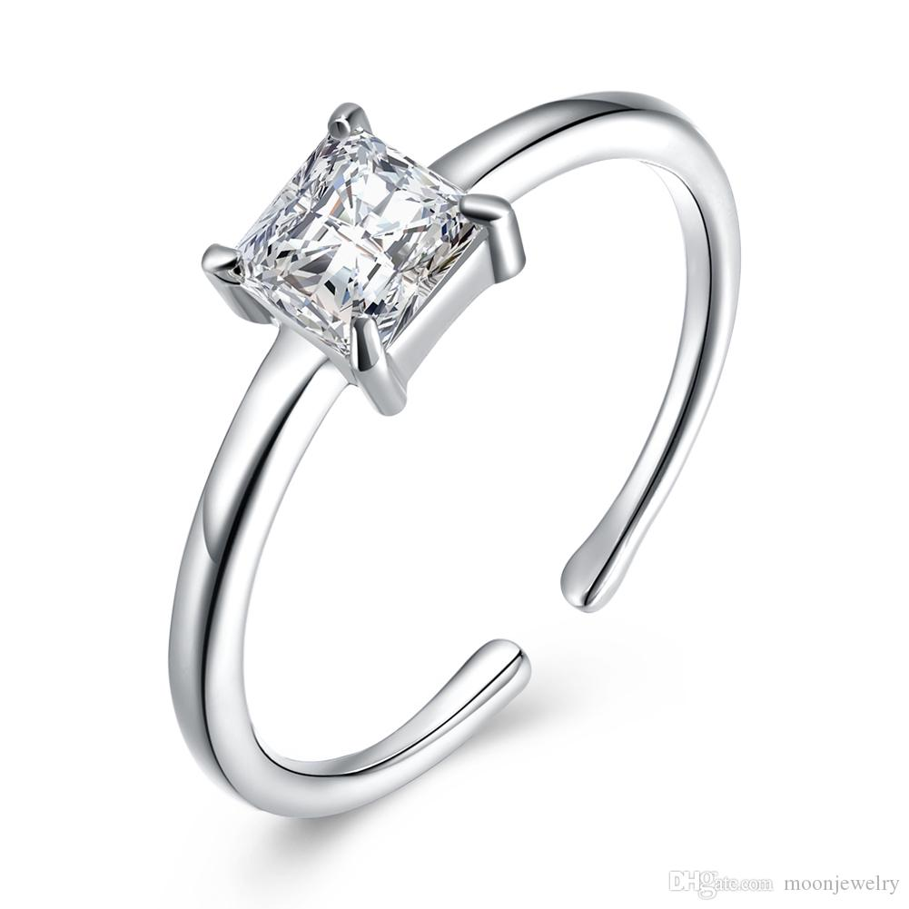 Fashion S925 sterling silver zircon opening ring simple square zirconium wedding ring sterling silver for girlfrend gift