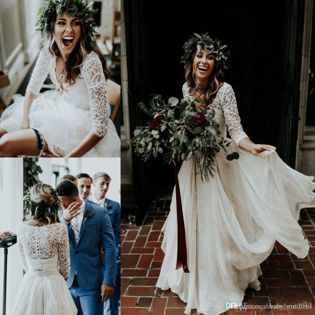 Beautiful Long Sleeve A-Line Two Pieces Beach Country Wedding Dresses 2019 Chiffon Ruffles Lace Top Boho Custom Made Bohemian Bridal Gown
