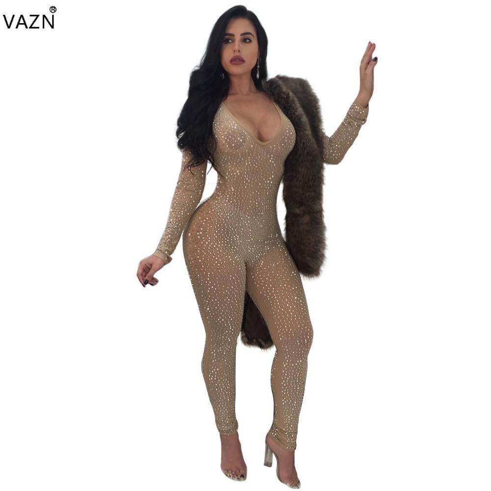 VAZN 2018 Nuevo Estilo de la Marca Bodycon Moda Mono Mono de Encaje de Manga Larga con Cuello En V Sexy Club Wear Y036