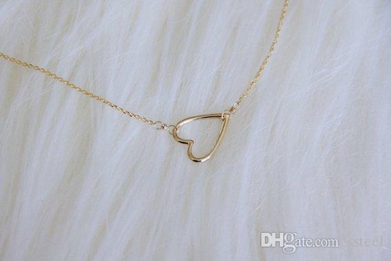 الذهب والفضة خط صغير الجوف خارج القلب المفتوح الحب القلائد سلك بسيط لف الحب القلائد قلب لمحبي الأزواج المجوهرات