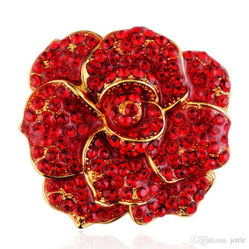 Bridal Rose Flower Brooch Pin Red Rhinestone Crystal Wedding Broach For Woman Jewelry