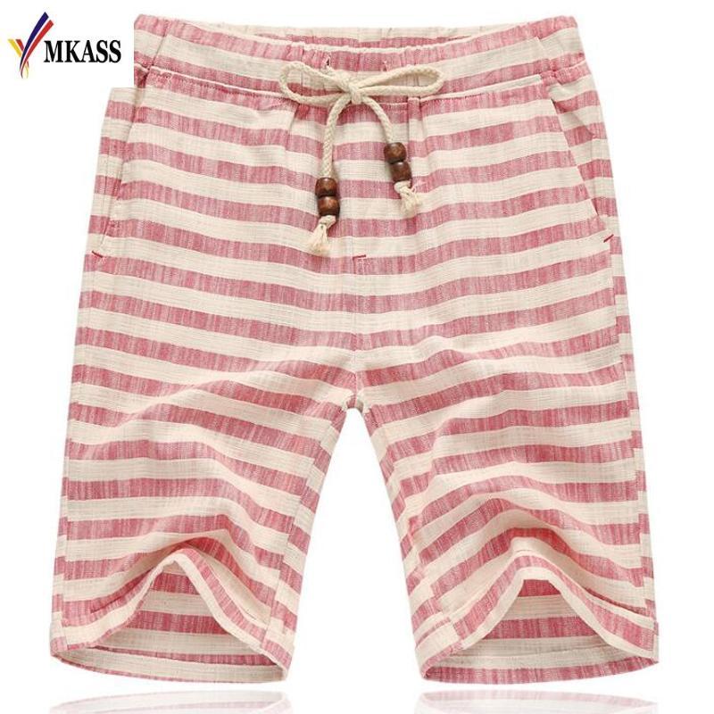 Pantalones cortos de la raya de los hombres del verano de la alta calidad Diseño clásico pantalones casuales de la playa del algodón Pantalones cortos famosos de la marca más el tamaño L-5XL