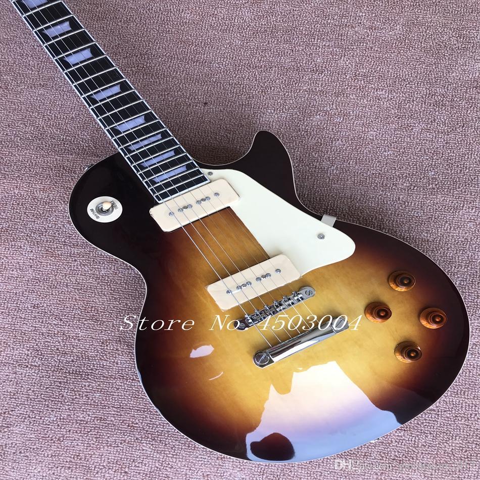 Arvinmusic Nuovo arrivo personalizzato 60s tributo al tramonto scoppio della chitarra elettrica standard, chitarra standard stile P90 vintage, spedizione gratuita