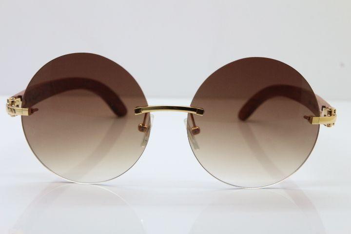 3524012 Decoración sin montura Lente de madera Marrón Hombres Vidrios Recorte Redondo Gafas de sol Lente Oro Madera Mujer Marco 18k Recorte Tallado C Hot G DJPS