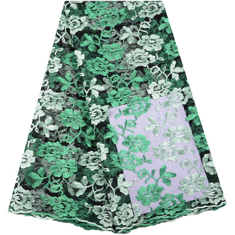 Tessuto di pizzo africano all'ingrosso con perline Design ricamo tulle tessuto di pizzo vendita calda francese tessuto di pizzo per il vestito