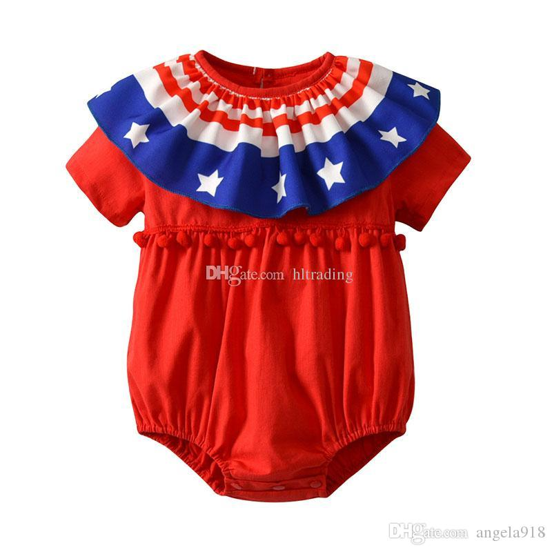 Baby girls American flag Rompers 4th july Star stripes print Jumpsuits 2018 summer Kids Climbing clothes free shipping 2 COLORS C4247