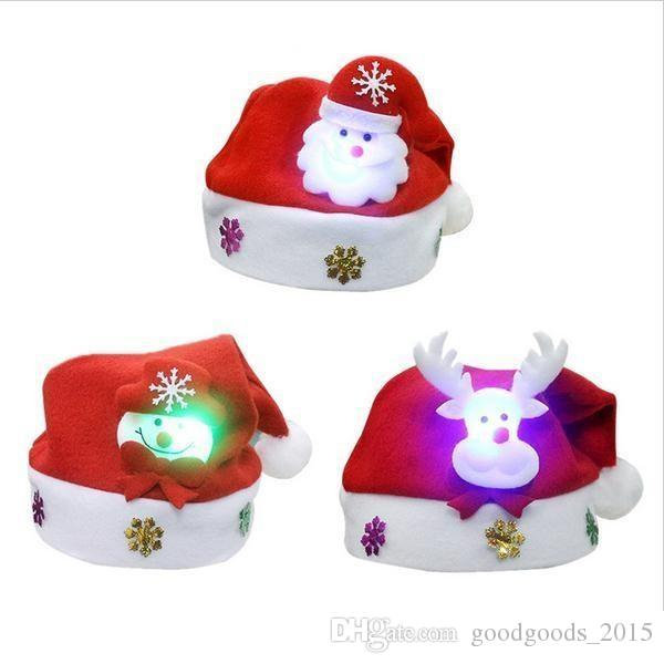 LED Christmas Hat Child Santa Red Accessories Decorations For Holiday Party New Year Supplies c089