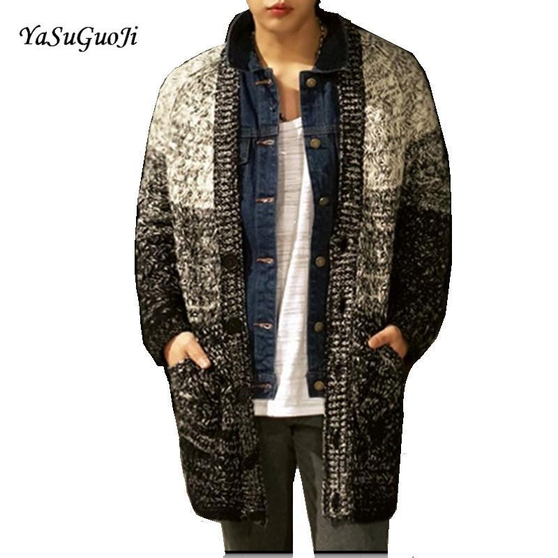 Yeni varış 2017 moda kontrast renk tek göğüslü kış sweatercoat erkekler kaba yün büküm kazak hırka erkekler KS9