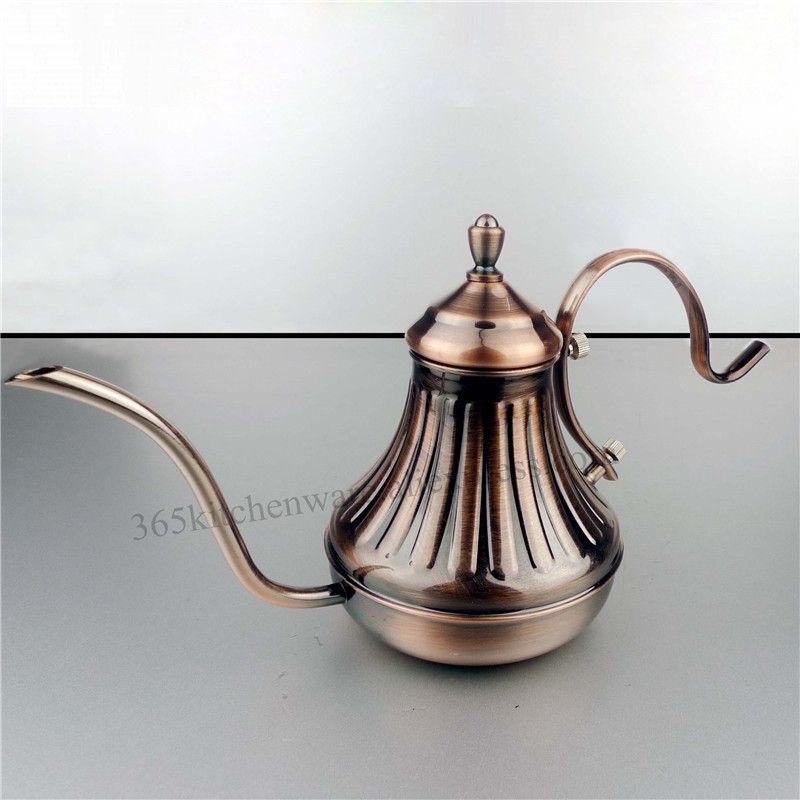 Paslanmaz Çelik Su Isıtıcısı Üzerine Dökün Kahve El Damla Kahve Tencere Çay Mahkemesi Pot 450 ml / 650 ml Gümüş / Bronz Renk