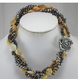 "free shipping wholesale 18"" mixed colors shell pearl and semi-precious stone nacklace"