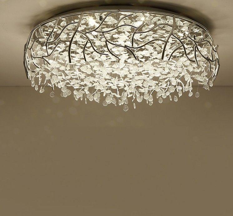LED Nowoczesne Crystal Sufit Lights Nordic Salon Disturie Nowość Sypialnia Sufitowe Lampy Iron Glass Sufit Lighting LLFA