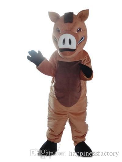 2018 Discount factory sale Good vision and good Ventilation a brown boar mascot costume with big nose for adult to wear