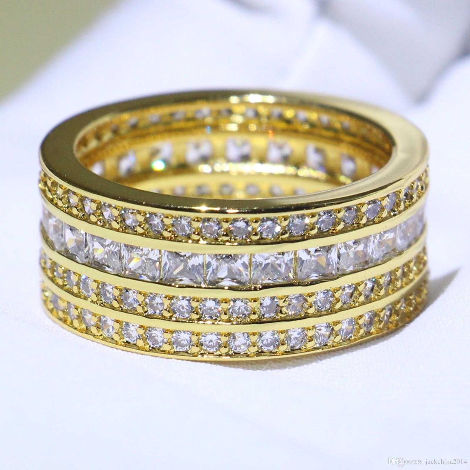 Choucong klasyczny oszałamiający biżuteria 925 Silvergold Wypełnij cztery rzędzie 5a Cubic Cyrkonia Princess CZ Stos zaręczynowy Pierścionek dla kobiet Prezent