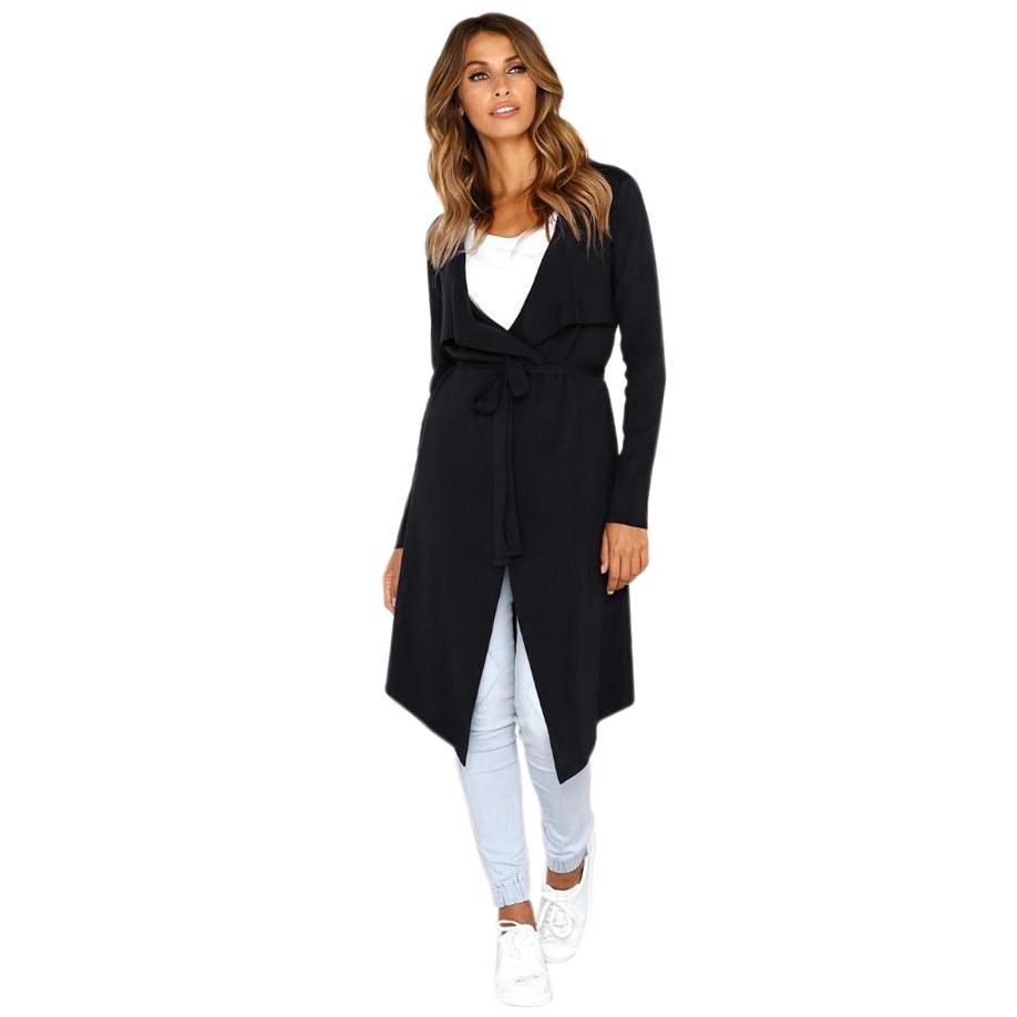 Las mujeres del otoño del color sólido ocasional del frente abierto de manga larga cuello de la cascada Irregular abrigo largo de las señoras de punto elegante chaqueta de la capa