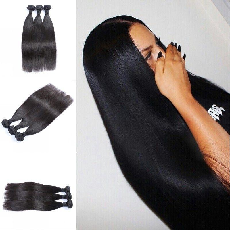 Straight Hair Bundles Mongolian Indian Peruvian Malaysian Human Hair Weaves 3 Bundles Natural Color Fast Shipping FDSHINE