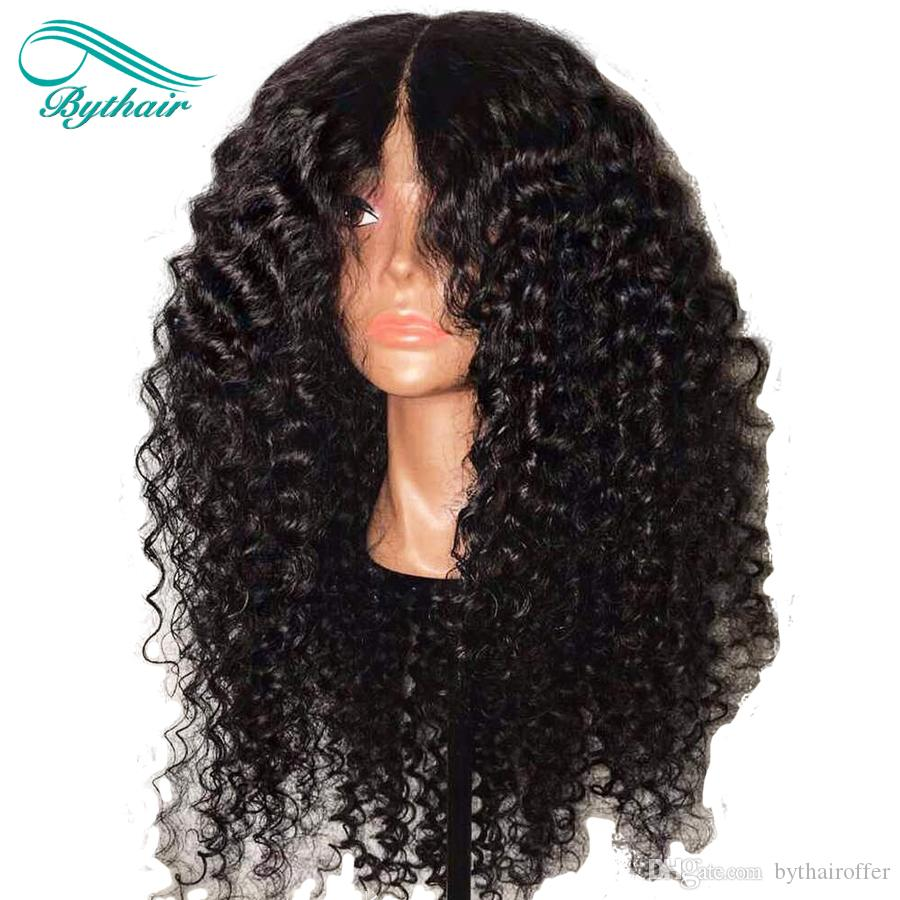 Bythair Top Quality Brazilian Kinky Curly Human Hair Wigs Brazilian Curly Lace Front Wigs Glueless Full Lace Wigs Bleached Knots