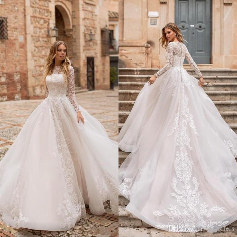새로운 Naviblue 2019 돌리 겸손한 긴 소매 웨딩 드레스 볼 가운 바베 넥 레이스 아첨 Bridal 가운 법원 열차 플러스 사이즈 Vestido