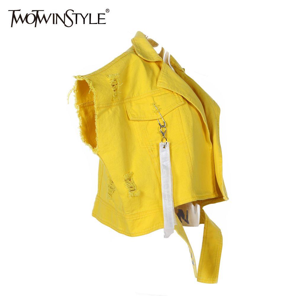 TWOTWINSTYLE chaleco sin mangas rasgado chaqueta chaleco femenino Chaqueta de mezclilla impresa para chalecos de las mujeres Chaquetas Jean Top otoño de gran tamaño