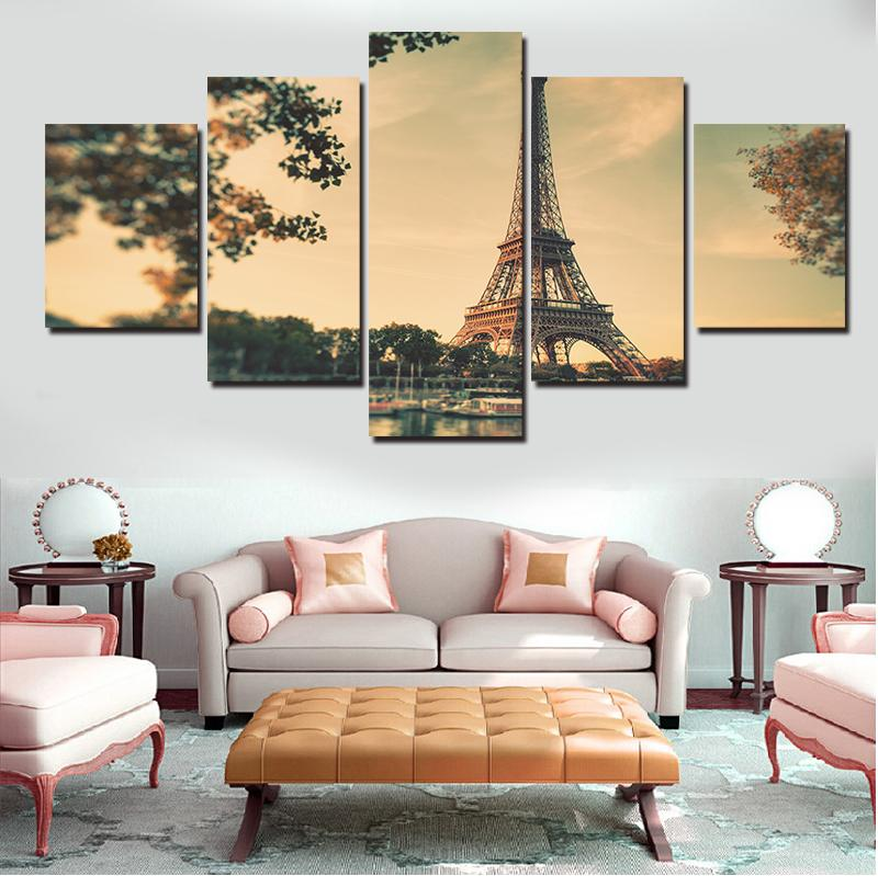 Vendita calda dipinti moderni di trasporto libero di tela Torre Eiffel migliore della parete di arte della decorazione della casa 5 Pezzi senza telaio Spray Pittura