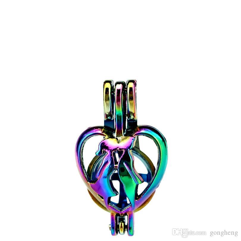 10 unids / lote Color Del Arco Iris Dulce Beso Perlas Jaula Medallón Colgante Difusor de Aromaterapia Perfume Difusor de Aceites Esenciales