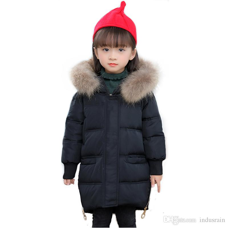 New Fashion Children Winter Jacket For Girls Coat Kids Warm Thickening Fur Collar Hooded Outerwear Coats 3 4 5 6 7 8 Years