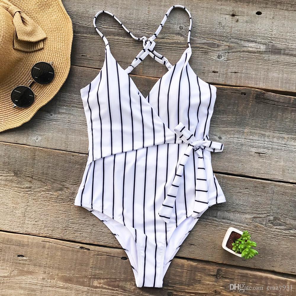 Stay Young Stripe traje de baño de una pieza de cuello en V profundo Summer Backless Bikini Set traje de baño de playa para mujer Traje de baño