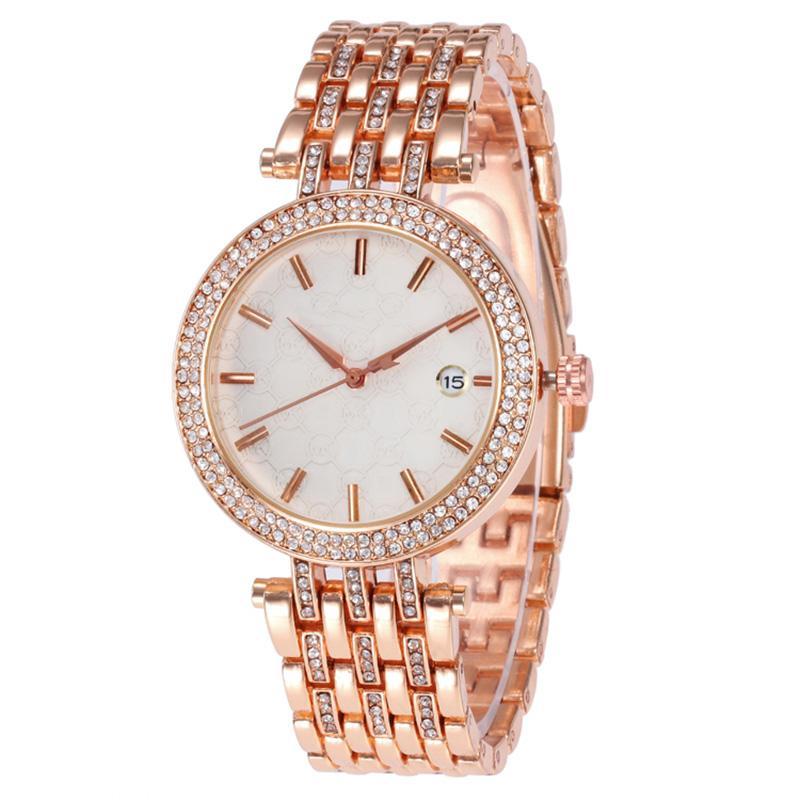 Yeni Lüks Kadın İzle Elmas Paslanmaz Çelik Moda Marka Lady Saatler Kuvars Rhinestone Saatı Saat Hediyeler Relogio Feminino Saat