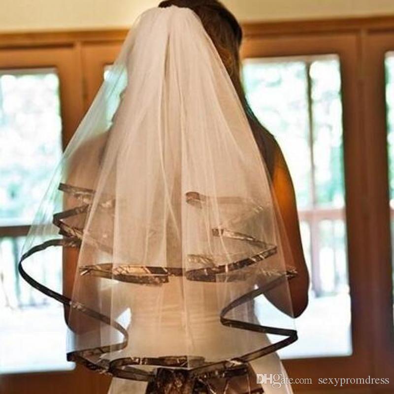 أدلى 2018 عرس الحجاب كامو مخصص حار بيع 2 طبقات الكوع طول الحجاب رخيصة للعروس