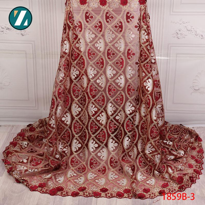 3D Lace Fabric 2018 High Quality Embroidered Trim Beaded Tulle Lace Fabric Red Color African Lace Fabric For Women XZ1859B-2
