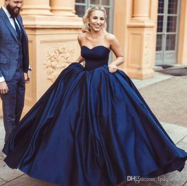 Sexy Navy Blue Ballkleid Abendkleid Satin mit Organza mit weichem Futter Abendkleid Abschlussballkleider LACE-UP / Reißverschluss