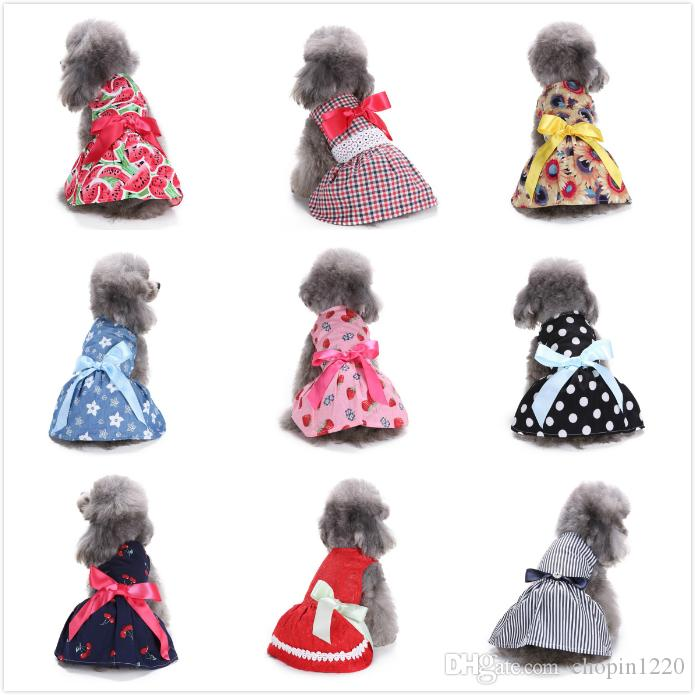 10 Colors Pet Dog Clothes Spring Bowknot Cute Pet Dog Dresses Summer Poodle Chihuahua Dogs Shirt Pet Valentine's Day Products Freeshipping