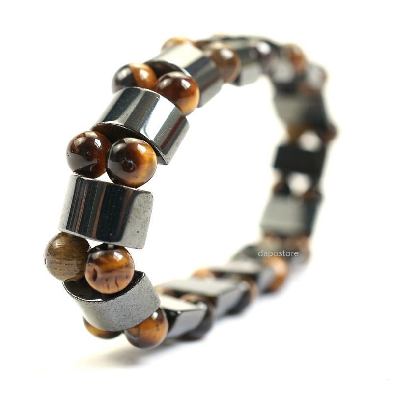 Hematita negra Piedra Tigre Ojo Perlas Estiramientos Pulseras Masculinas Redondo Perlas Charms Pulsera Bangle Mens Jewelry