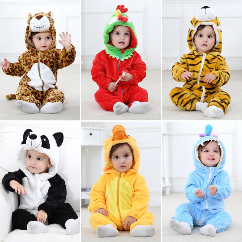 Bebek Kaplan Giysileri Ilkbahar Ve Sonbahar Fon Flanel Hayvan Modelleme Giysiler Tırmanmaya Ins çocuk Konfeksiyon Yenidoğan Giyim Ucuz wholesaale