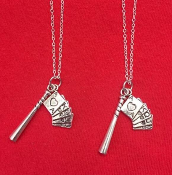 Vintage Argent Baseball Bat Poker Colliers Pendentif Charmes Déclaration Ras Du Cou Colliers Femmes Bijoux Accessoires DIY Cadeaux B403