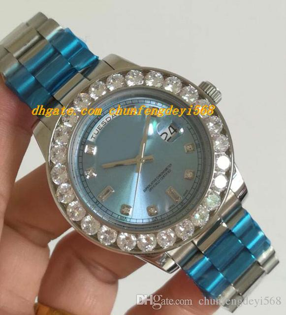 Luksusowe zegarki ICE Blue Roman Dial Diament Diamond Wegel Watch Chest 43mm Automatyczne Moda Marka Marka Zegarek Zegarek