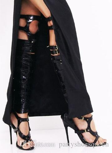 2018 Moda Cor Prata Fivelas Sapatas Das Mulheres Sexy Cool Cavaleiro Sandálias Sobre O Joelho Sandálias de Salto Alto Peep Toe Senhoras Gladiador