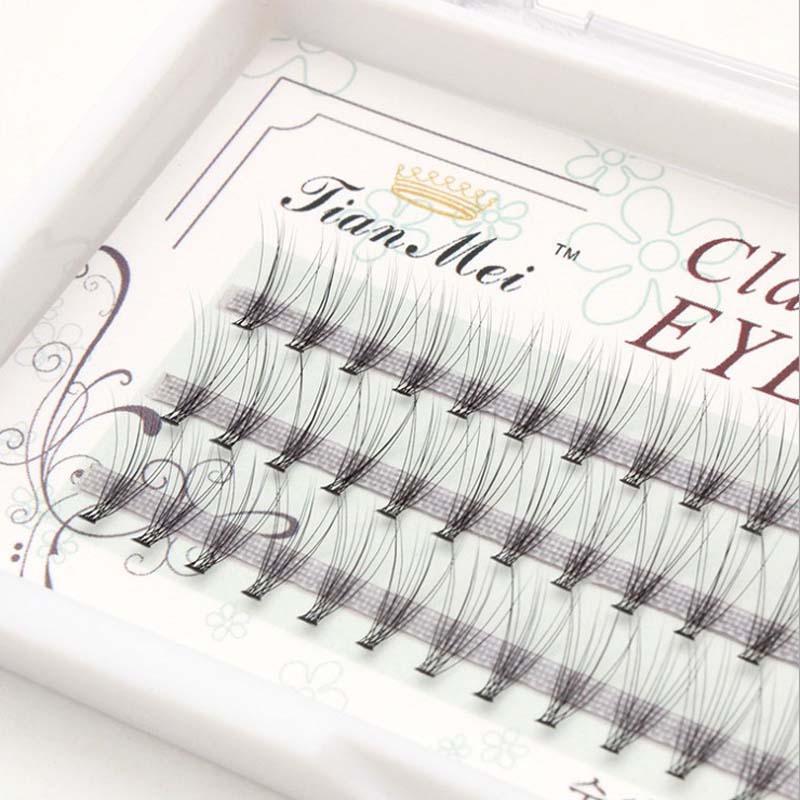 Natural Black Knot Free Individual False Eyelash 60 clusters Eye Lashes Extension Tray For make up 10 flares