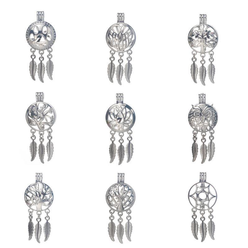 6 teile / los Silber 20 Stile Dreamcatcher Perle Käfig Schmuck machen Bead Käfig Anhänger ätherisches Öl Diffusor Medaillon für Oyster Pearl