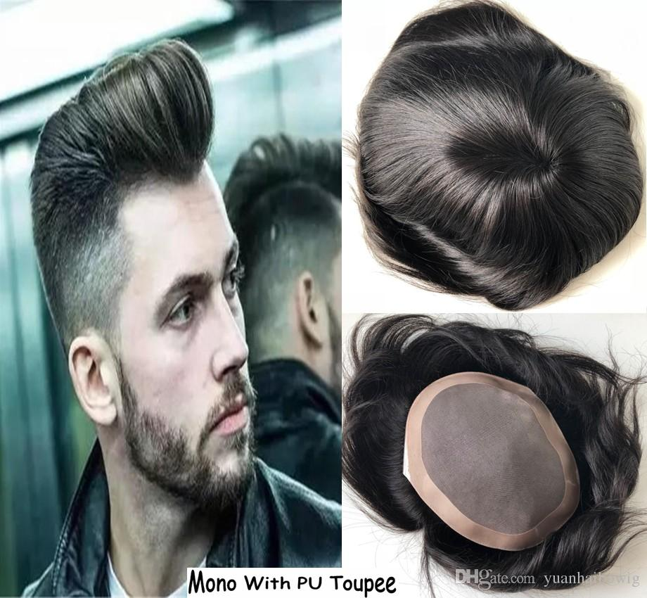 DHL Fedex TNT express free shipping Stocked Mens Toupee Super Thin base mono lace and PU Arround Real Human Hair Toupee Top Quality