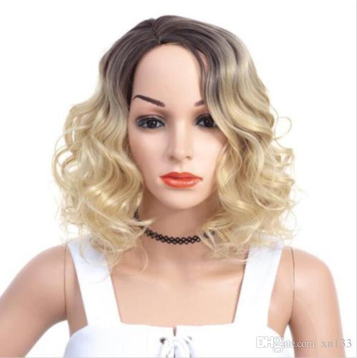Kurze Finger Welle Gatsby Stil Haut Seite Teil Ombre Blonde Brown Perücken für Frauen