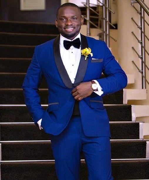 Brand New Royal Blue Men Tuxedos de boda High Quality Groom Tuxedos Black Lapel One Button Men Blazer Traje de 2 piezas (chaqueta + pantalón + corbata + faja) 8