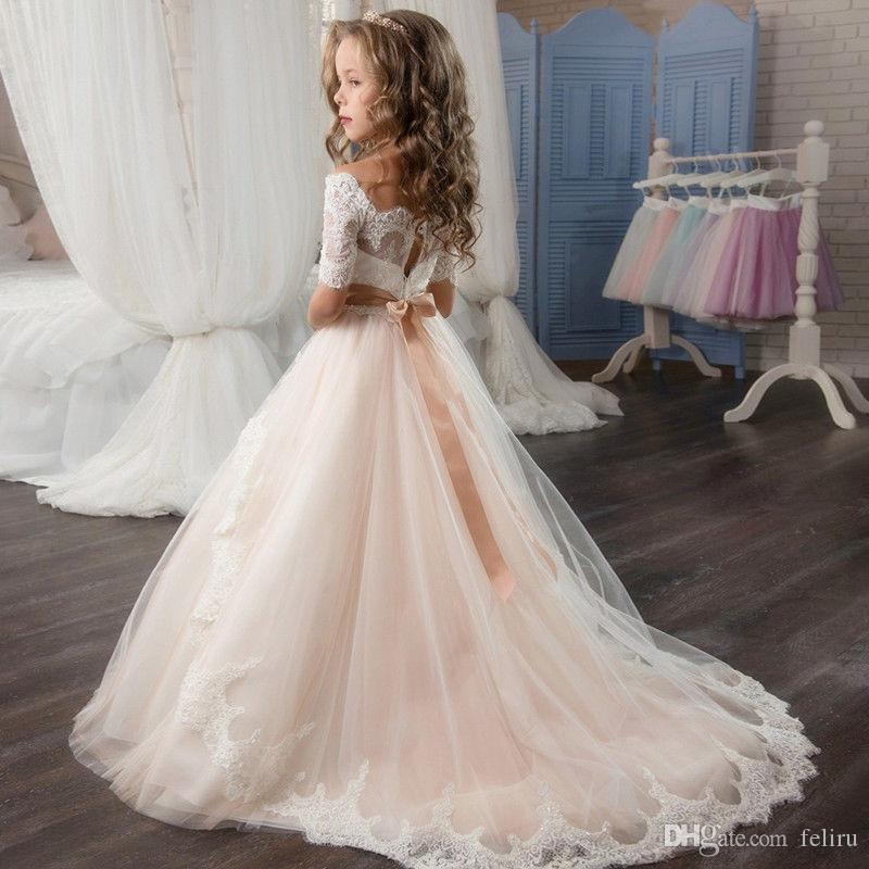 Pageant Fashion Kids Children Lace Tulle TUTU Champagne Girl's Flower Girl Dress For Dance Wedding Easter Junior Bridesmaid Party Dress 103