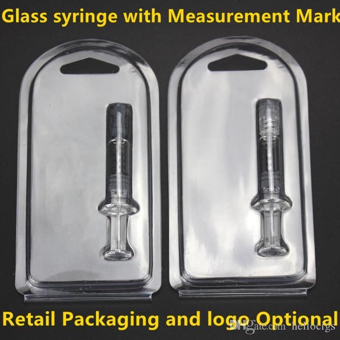 2018 Luer Lock Pyrex Glass 시린지 팁 헤드 1ML 인젝터, 두꺼운 Co2 오일 카트리지 탱크 용 측정 마크 및 소매 포장