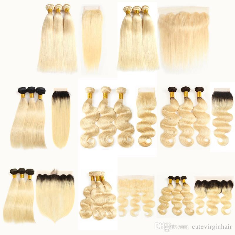큐티클 정렬 613 금발 머리카락 스트레이트 바디 웨이브 613 1B / 613 Cheveux vierges brésiliens 레이스 클로저가있는 번들 번들 정면 확장